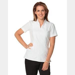 Women's Full Zip Front Short Sleeve Tunic Thumbnail