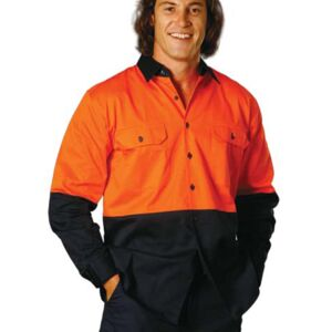 Cotton Drill Safety Long Sleeve Shirt Thumbnail